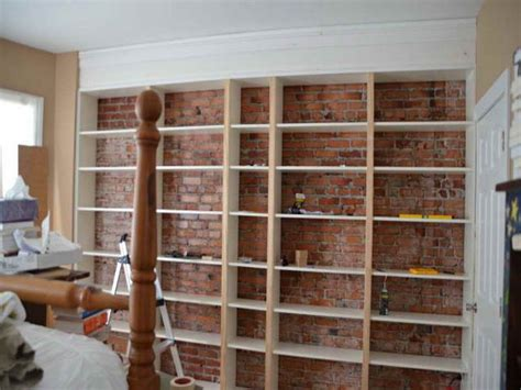 attach bookcase to wall ikea top diy brick walls bricks walls and cabinet shelving