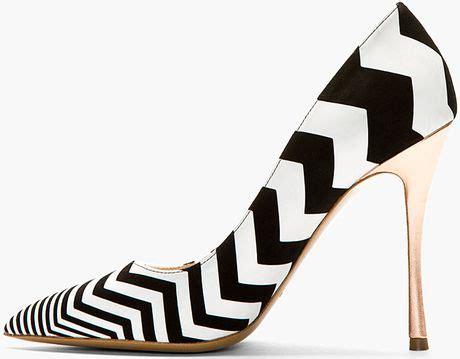 black and white chevron heels nicholas kirkwood black and white suede chevron pumps in