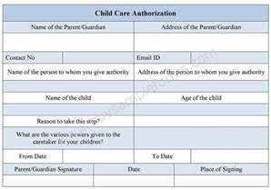 child care authorization form childcare form example