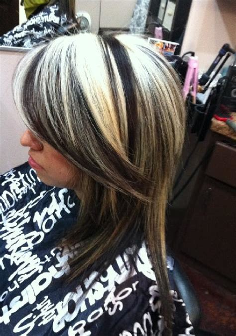 chunking highlights dark hair pictures chunky blonde and black highlights on o layered cut long