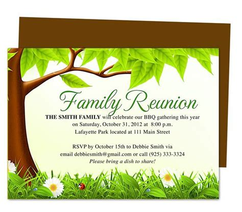 Family Tree Reunion Party Invitations Templates Invitation Template Misc Ideas Family Family Card Template 2