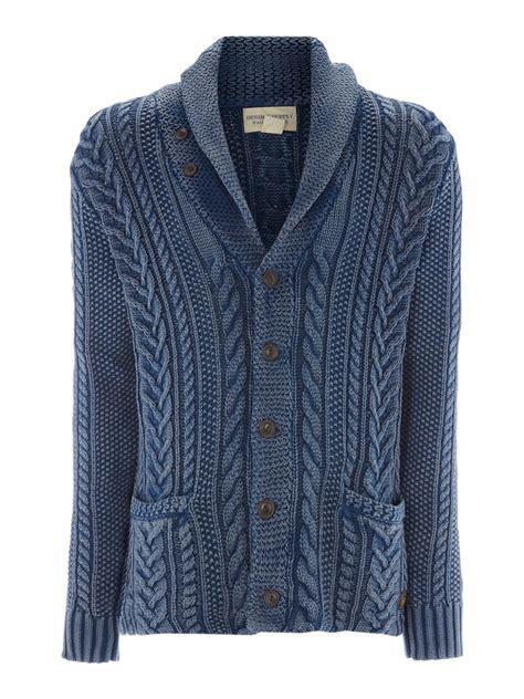 Pasmina Denim Motif 1 denim supply ralph cable knit shawl cardigan in blue for lyst