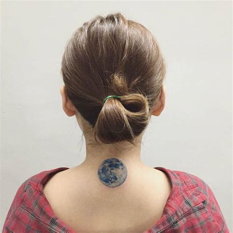tattoo moon neck realism style moon tattoo on the back of the neck