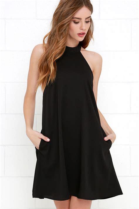 chic black dress halter dress trapeze dress