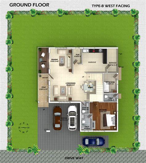 villa plan myans villas type b west facing villas