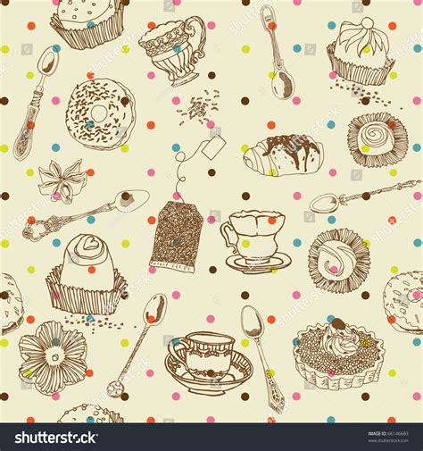 seamless pattern cake sweet cake seamless pattern stock vector illustration