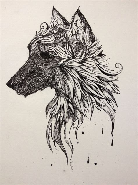 pen ink tattoo wolf dipped ink pen calligraphy pen sketches wolf