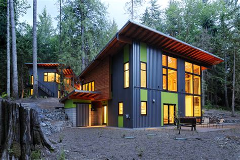 building an affordable house house in the woods contemporary exterior seattle
