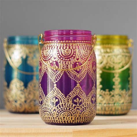 henna design mason jars gypsy hanging lantern bohemian style mason jar candle holder