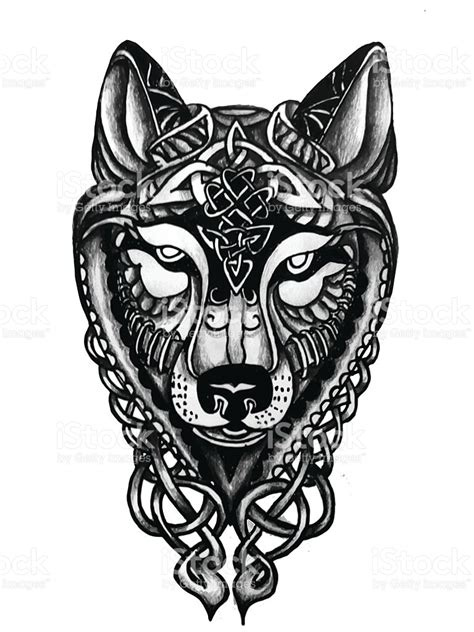 hand drawn celtic wolf head for tattoo stock vector art