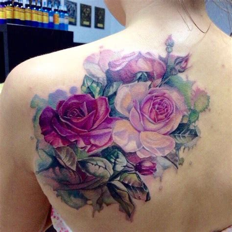 rose tattoo on back shoulder back shoulder realistic aquarelle roses best