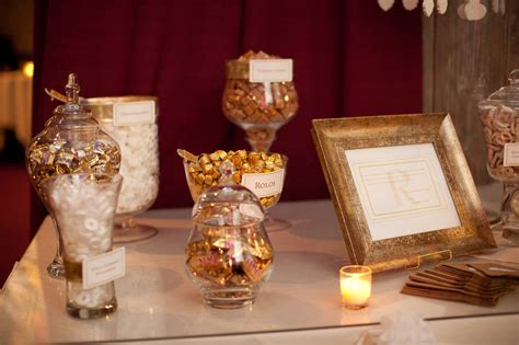 a gold and white buffet