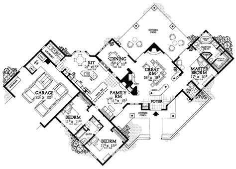 creative floor plans creative sante fe style home plan 81408w 1st floor