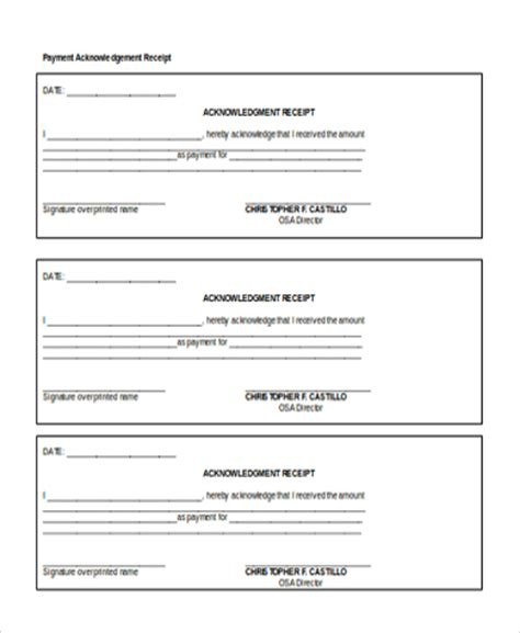acknowledgement receipt template doc sle payment receipt form 8 free documents in doc pdf
