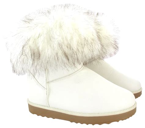 womans fur boots womans flat ankle faux fur comfy collar snugg warm winter