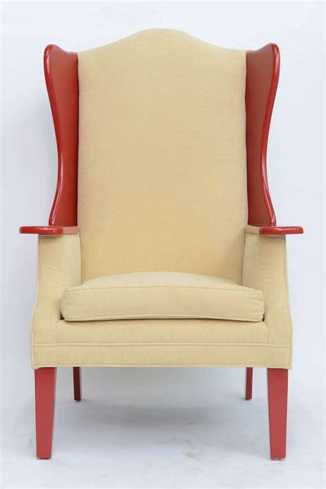 Modern High Back Armchair by 1950s Modern High Back Lacquered Wing Back Armchair At