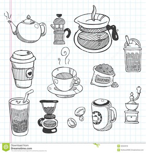How To Decorate A Coffee Mug Doodle Coffee Icons Stock Vector Image Of Black