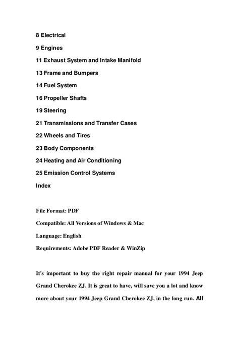 online car repair manuals free 1994 jeep grand cherokee free book repair manuals 1994 jeep grand cherokee zj service repair workshop manual download