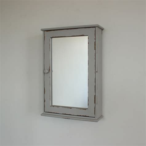 Bathroom Wall Cabinet Mirror Grey Mirrored Wall Cabinet Distressed Bathroom Shabby Chic Home Drawer Ebay