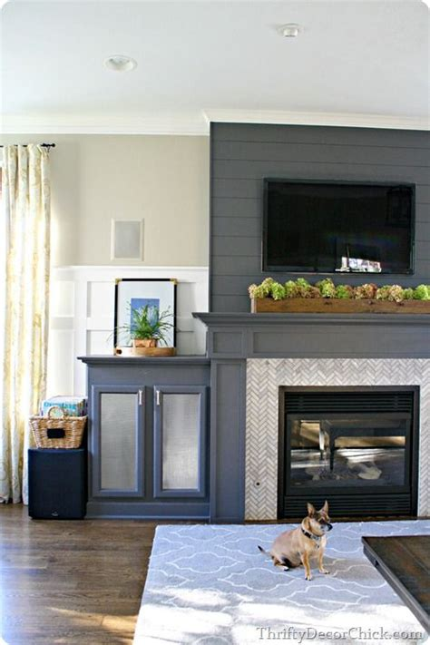 dark gray accent wall from thrifty decor chick 13 planked wall finished fireplace thrifty decor