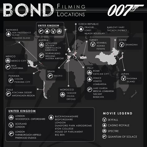 7 I Would To See In A Bond by 007 Travelers Map Of Bond Filming Locations