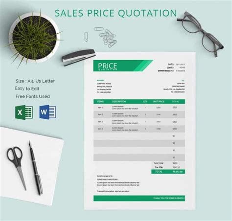 price template design price quotation template 18 free word excel pdf