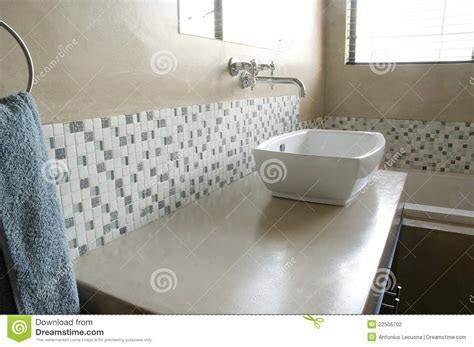 Bathroom Vanity Design Plans Modern Bathroom Sink With White Mosaics Stock Photo