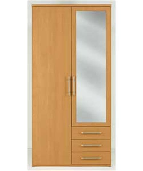 vancouver 2 door 3 drawer mirrored wardrobe pine