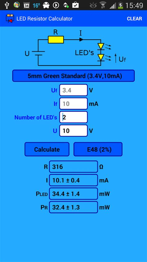 resistor calculator for led in series led resistor calculator android apps on play