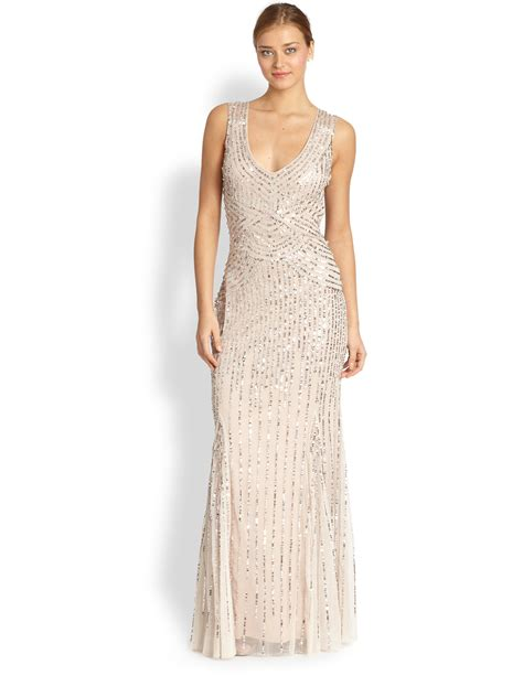 Sequin Gown Couture Dress Gaun Tulle Anak High Fashion aidan mattox sequin tulle sleeveless gown in pink blush lyst