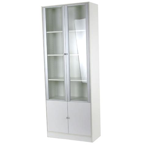 white bookshelf with glass and wooden doors