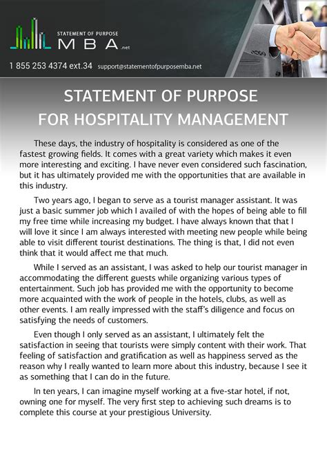 Hospitality Mba by Writing Mba Statement Of Purpose For Hospitality