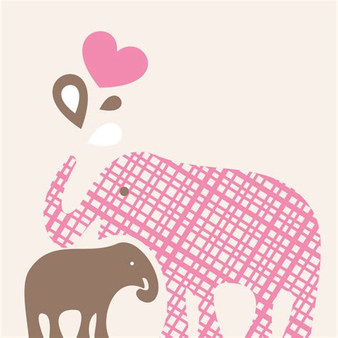 Girls Pink And Brown Bedding by Mummy And Baby Elephant Wall Art Canvas