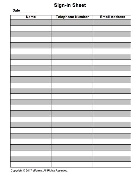 Attendance Guest Sign In Sheet Template Eforms Free Fillable Forms Free Printable Sign In Sheet Template