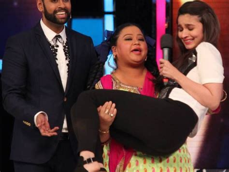 actress lifting and carrying actor india s got talent bharti singh lifts alia bhatt alia