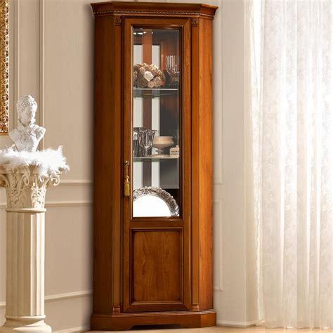 treviso ornate cherry wood  door glass corner display