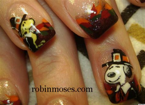 thanksgiving nail art diy nail art snoopy and woodstock thanksgiving manicure