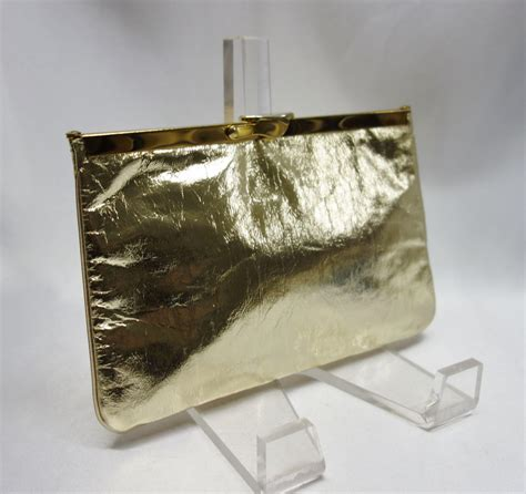 gold convertible gold lame convertible clutch purse from vintagevault on
