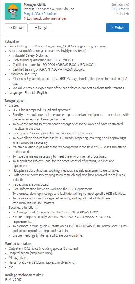 design engineer job vacancy selangor oil gas vacancies manager qshe process 3 services