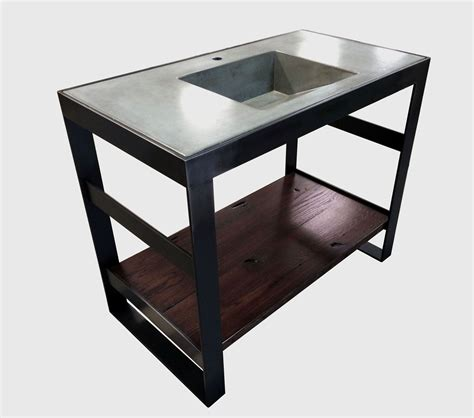 Steel Bathroom Vanity Buy A Crafted Open Frame Steel And Reclaimed Oak Bath Vanity Base Made To Order From