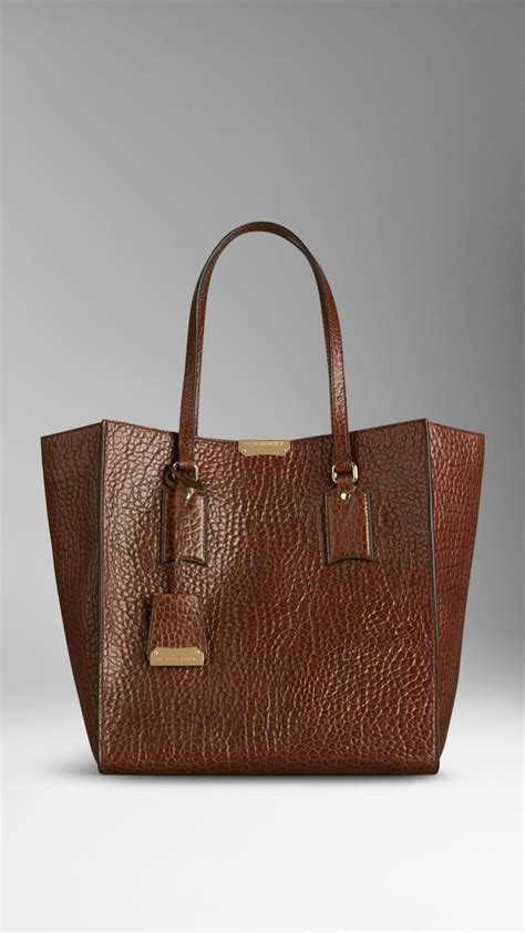 Burberry Tote by Burberry Medium Heritage Grain Leather Tote Bag In Brown