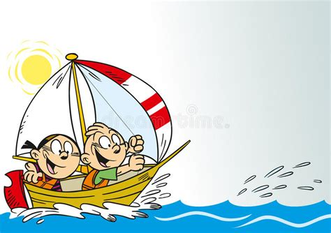cartoon girl on boat funny kids in a boat stock vector illustration of leisure