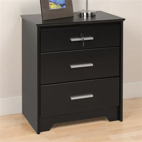 Modern Black Nightstands Coal Harbor 3 Drawer Nightstand With Lock Black Modern Nightstands And Bedside Tables