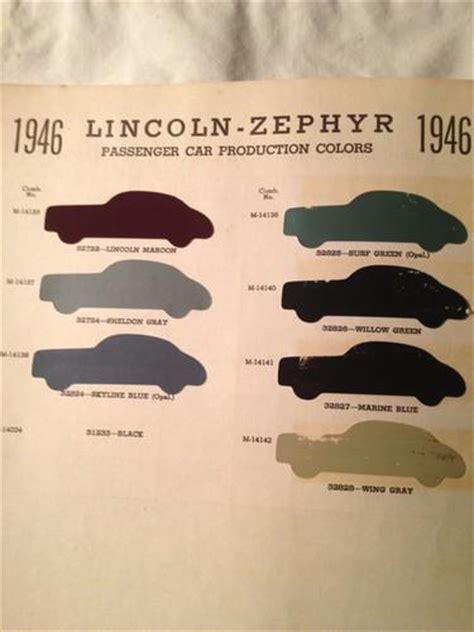 sell 1946 lincoln zephyr passenger car sherwin williams paint color chip chart guide motorcycle