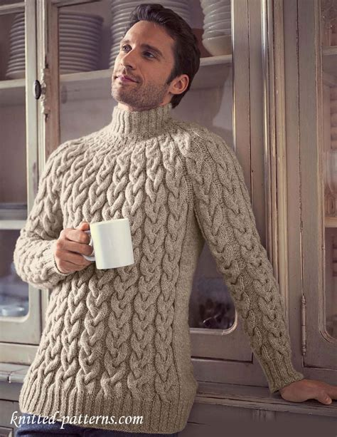 free mens cable knit sweater patterns top cable sweater knitting pattern