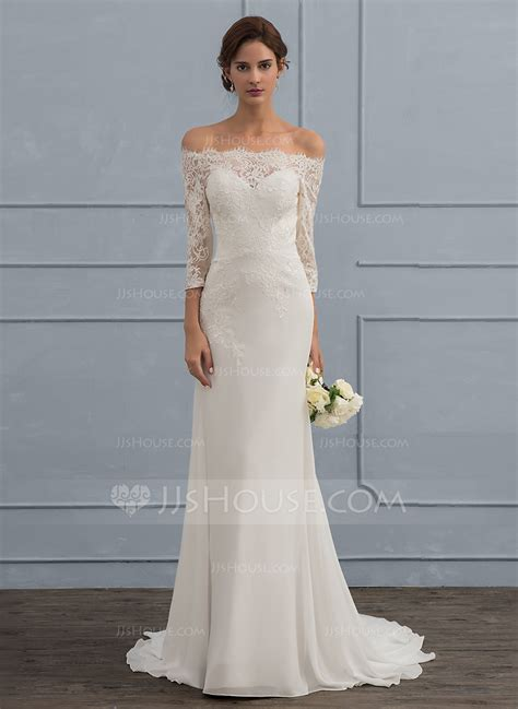 Wedding Dresses The Shoulder by Trumpet Mermaid The Shoulder Sweep Chiffon