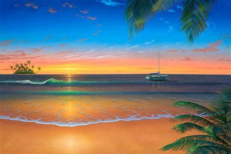 paint island sunset painting island