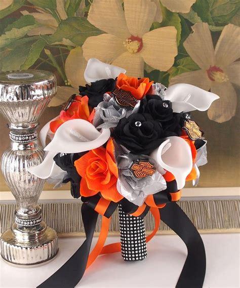 harley davidson wedding supplies reserved harley wedding theme bouquet centerpieces orange