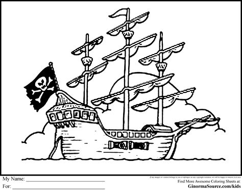 Pirate Ship Coloring Page by Pirate Coloring Pages Free Large Images