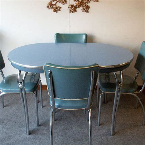 vintage blue formica table with chairs